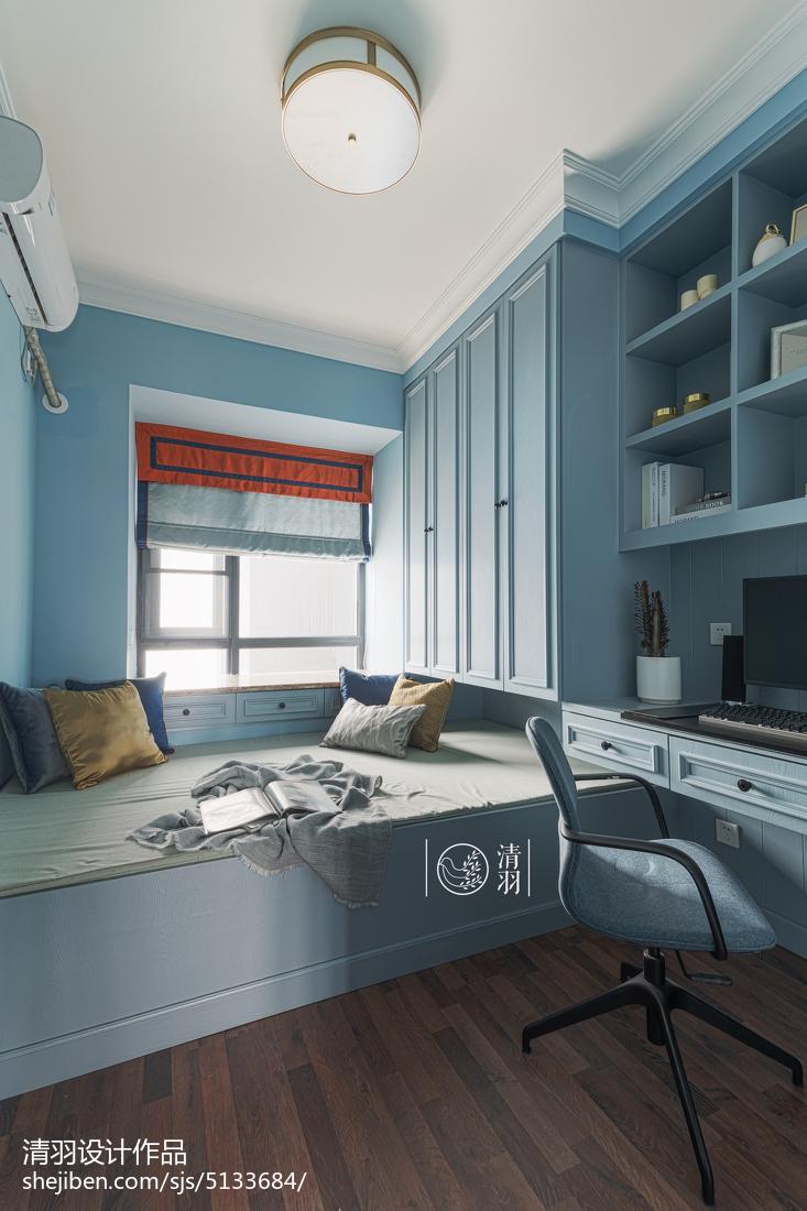 藍色系美式榻榻米書房裝修