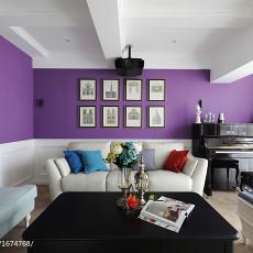轻奢240平美式复式客厅装饰图片