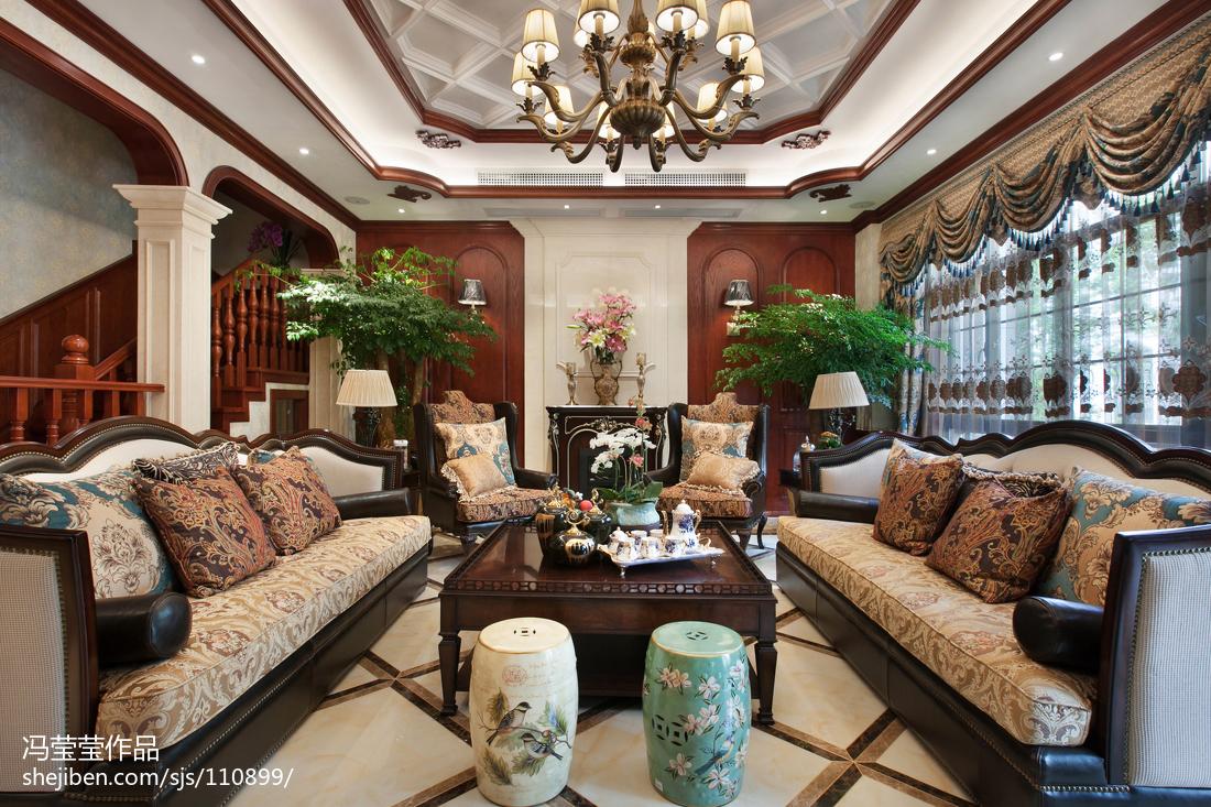 精美面积116平别墅客厅美式装修欣赏图片大全