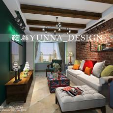 热门面积77平美式二居客厅装修欣赏图