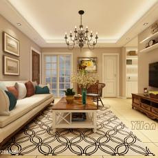2018精选面积81平美式二居客厅装修图片大全