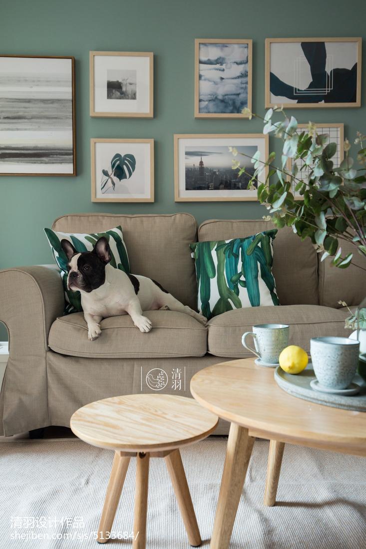 热门74平米北欧小户型客厅装修实景图片大全