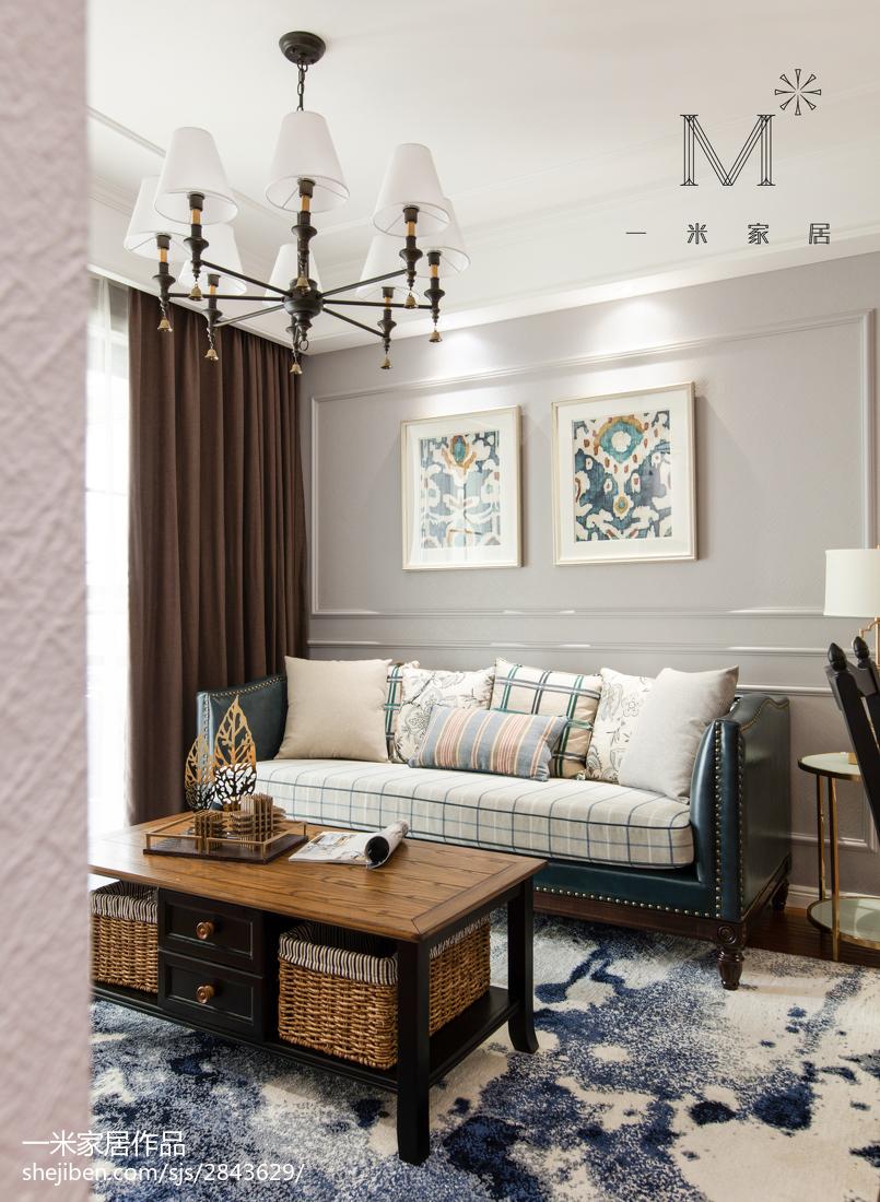 热门面积75平美式二居客厅装修效果图片