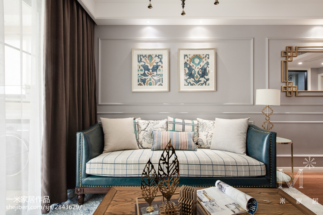 精选面积79平美式二居客厅效果图片