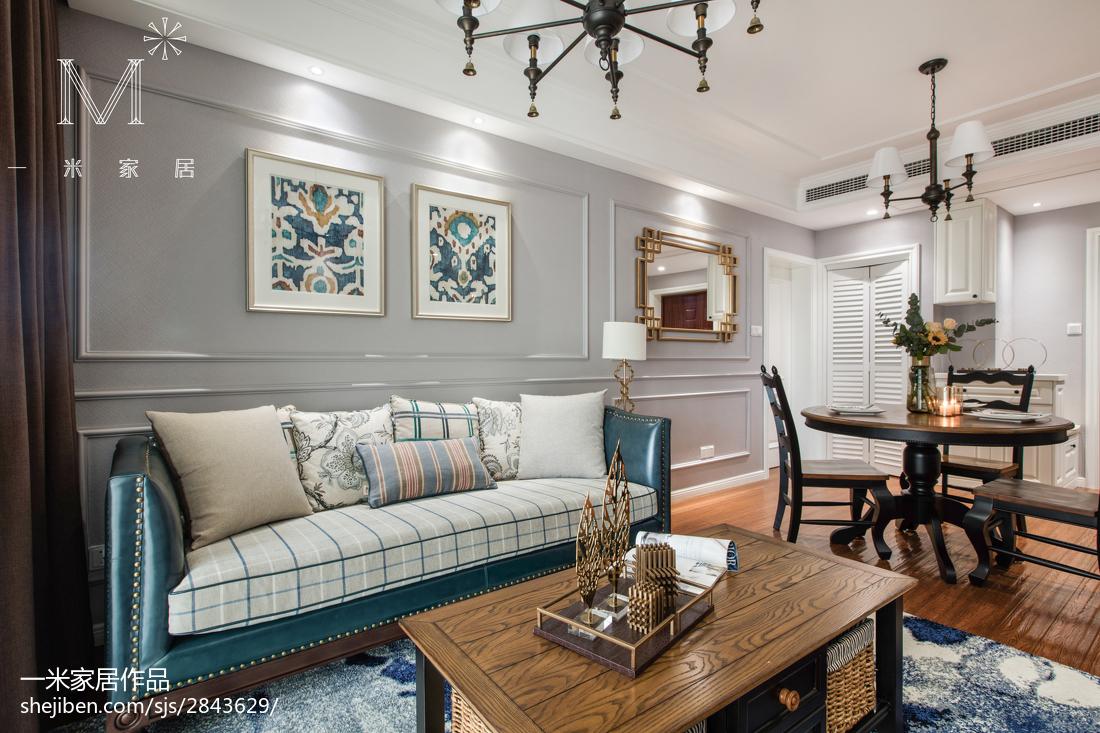 热门85平方二居客厅美式装修实景图片大全
