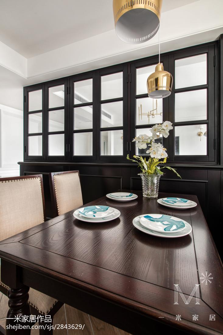 优美94平美式三居餐厅装修图