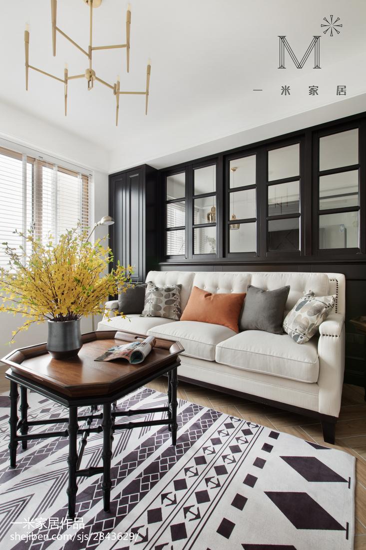 精选98平米三居客厅美式装修实景图片