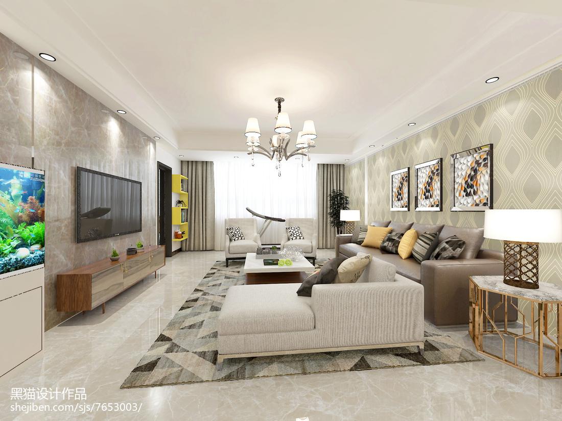 面积133平现代四居客厅装修实景图