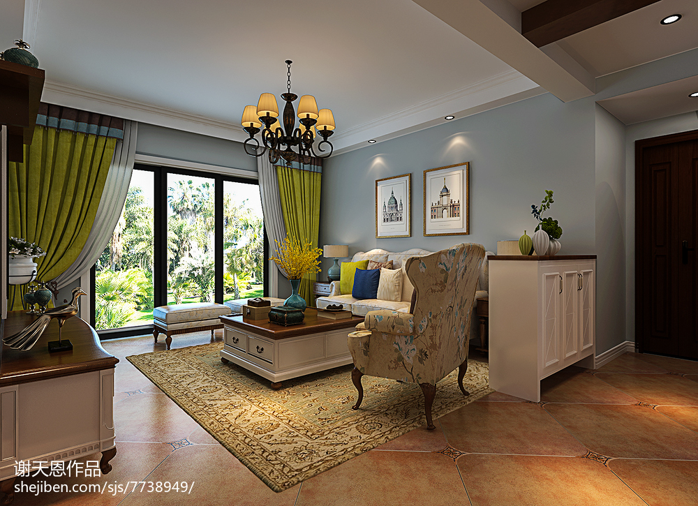 2018精选面积93平美式三居客厅实景图片欣赏
