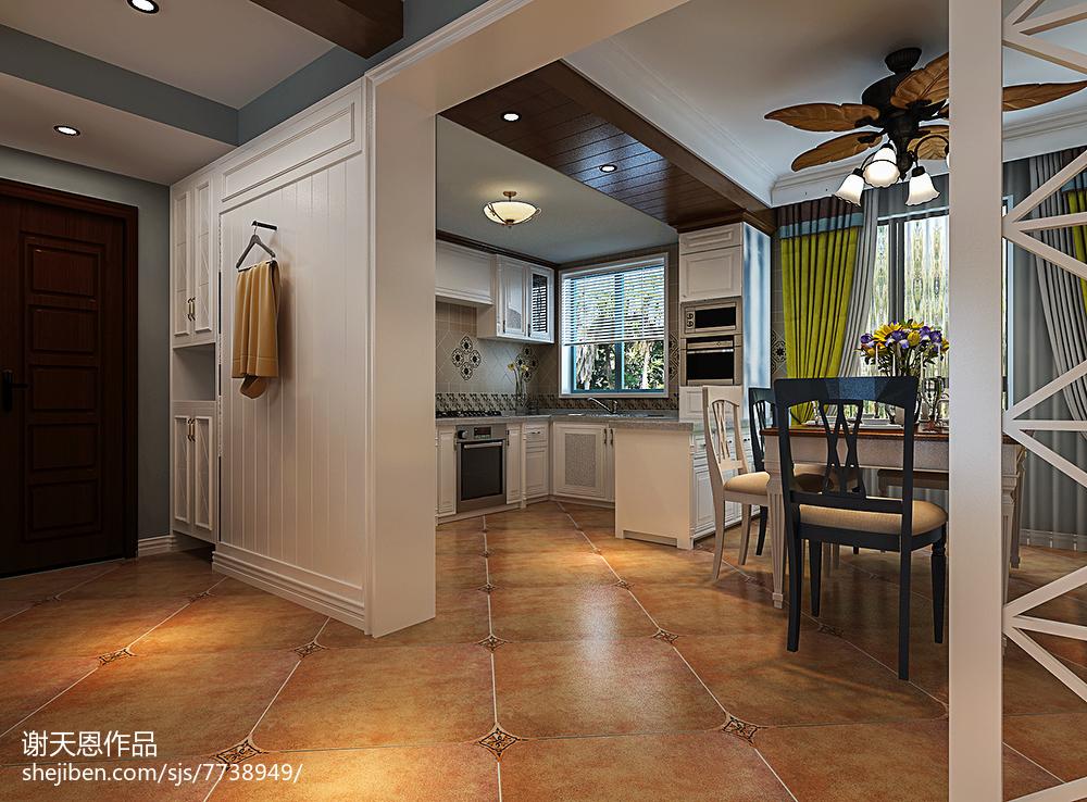 精美面积96平美式三居餐厅装饰图