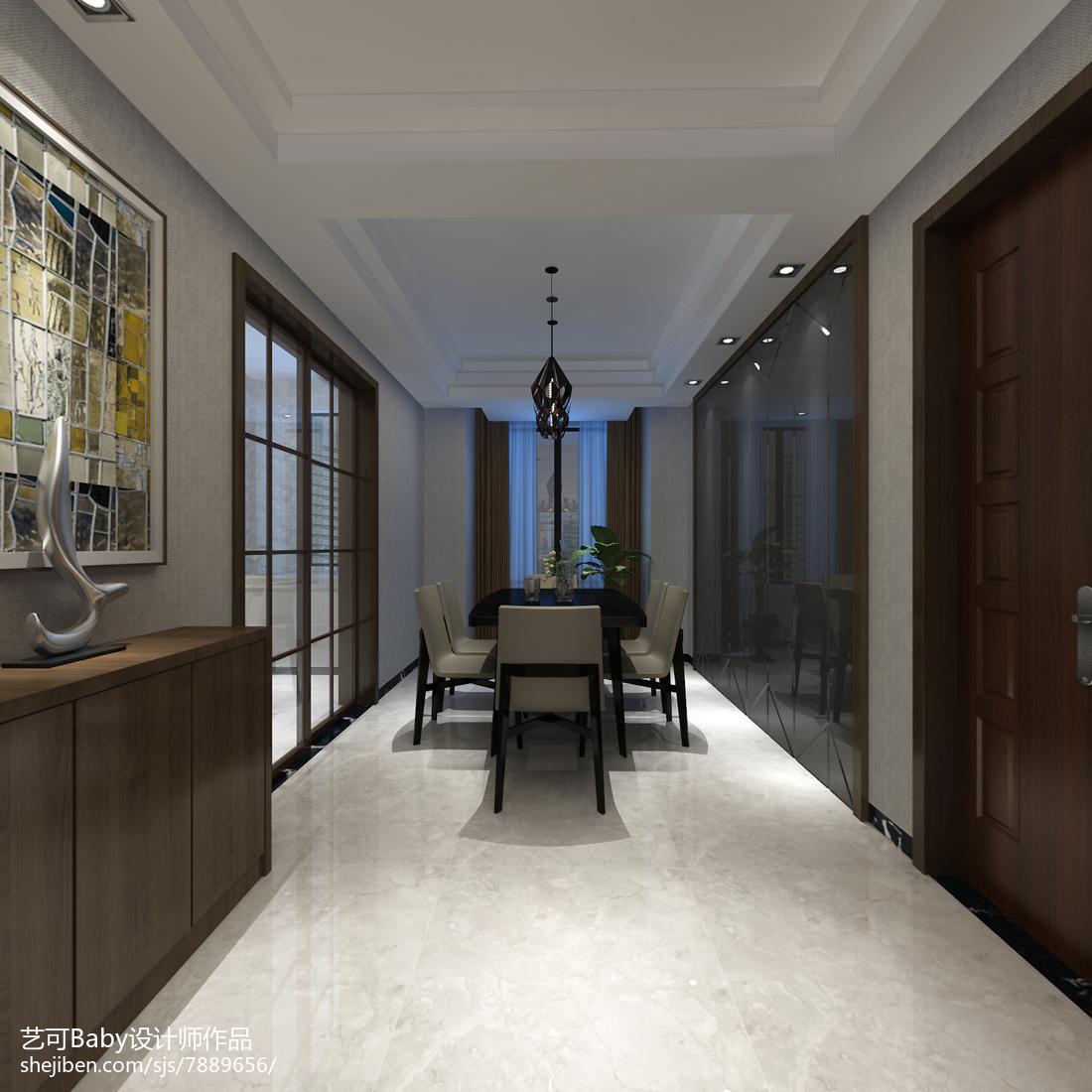 热门面积112平现代四居餐厅装修图