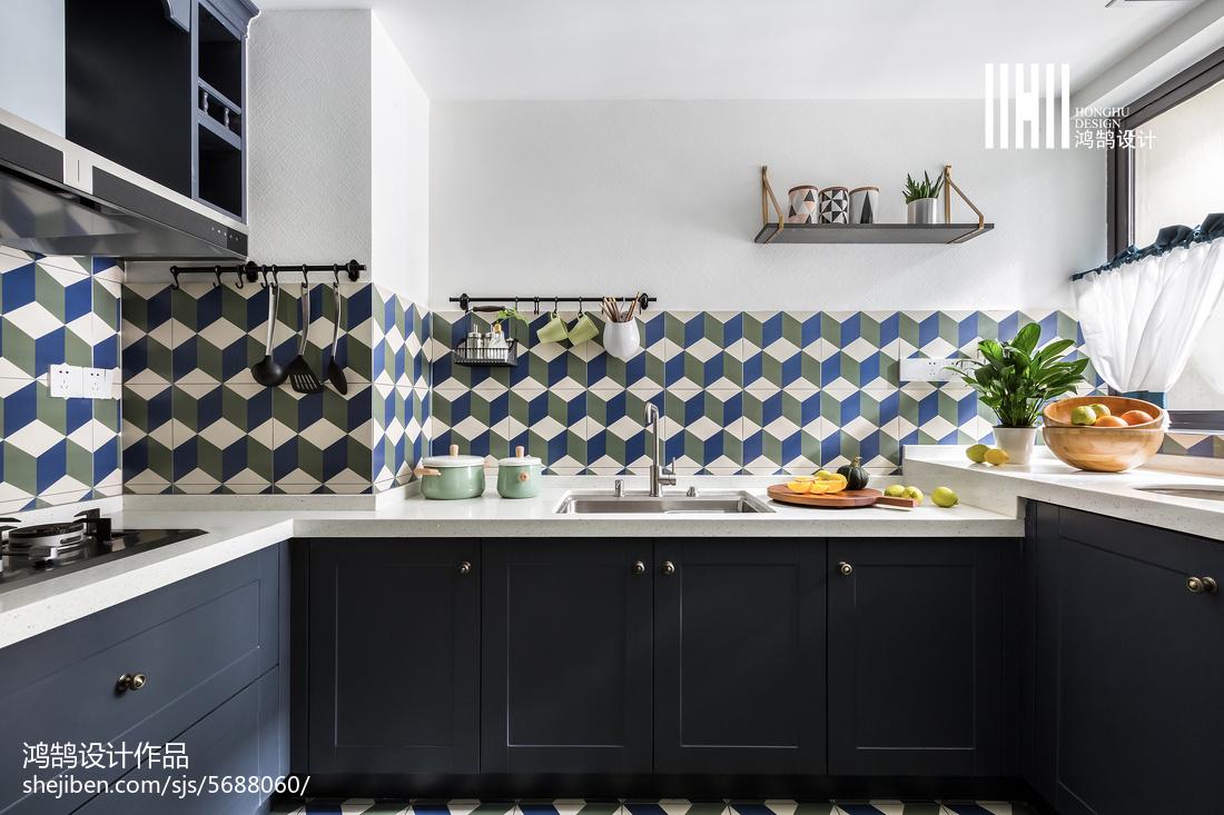 精美面积90平美式二居厨房装修效果图