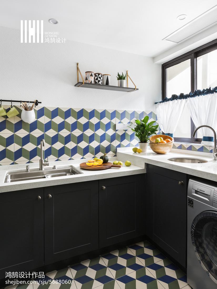 精美78平米二居厨房美式欣赏图片