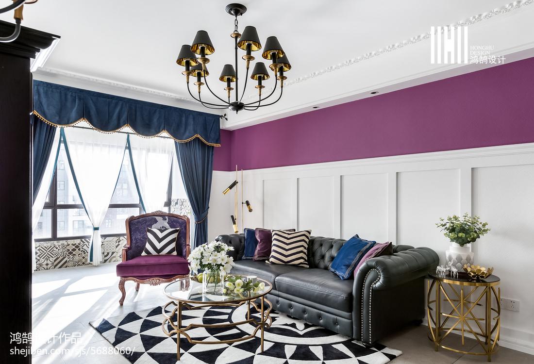 2018二居客厅美式装修实景图片