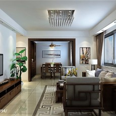 2018精选77平米二居客厅中式效果图片大全