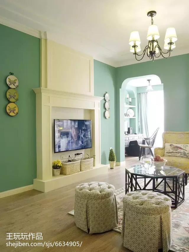 2018精选83平米二居客厅美式装修图片大全