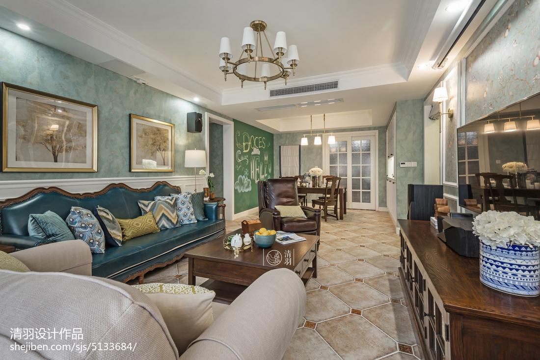 精选面积91平美式三居客厅实景图片