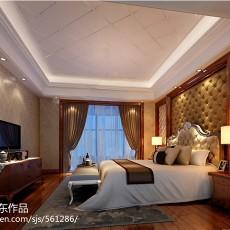 热门103平米三居卧室中式实景图片欣赏