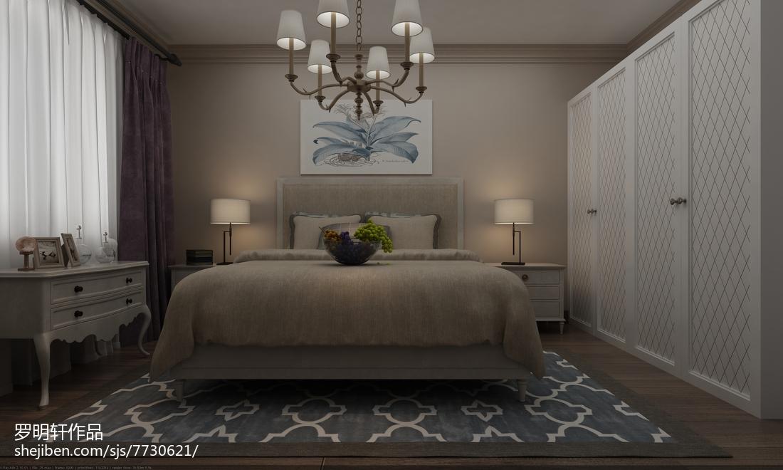 2018精选面积78平美式二居卧室设计效果图
