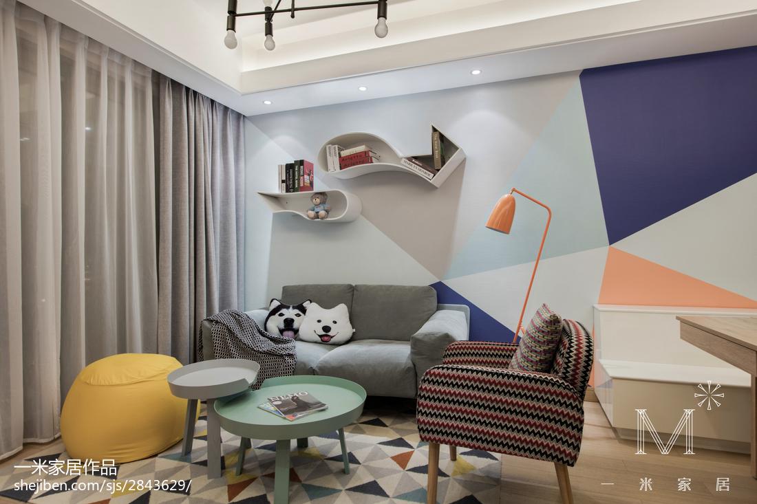 2018100平米三居客厅北欧装饰图