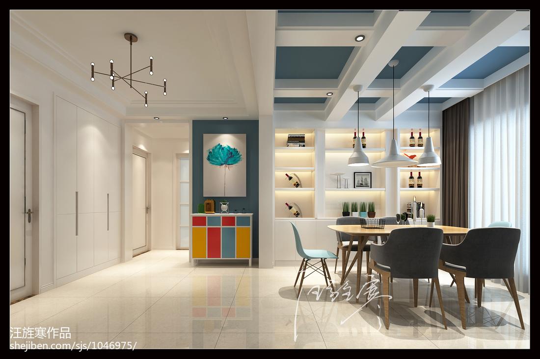2018精选91平米三居餐厅北欧装修实景图片大全