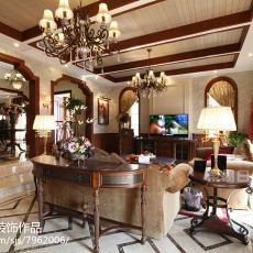精美116平米美式别墅客厅实景图