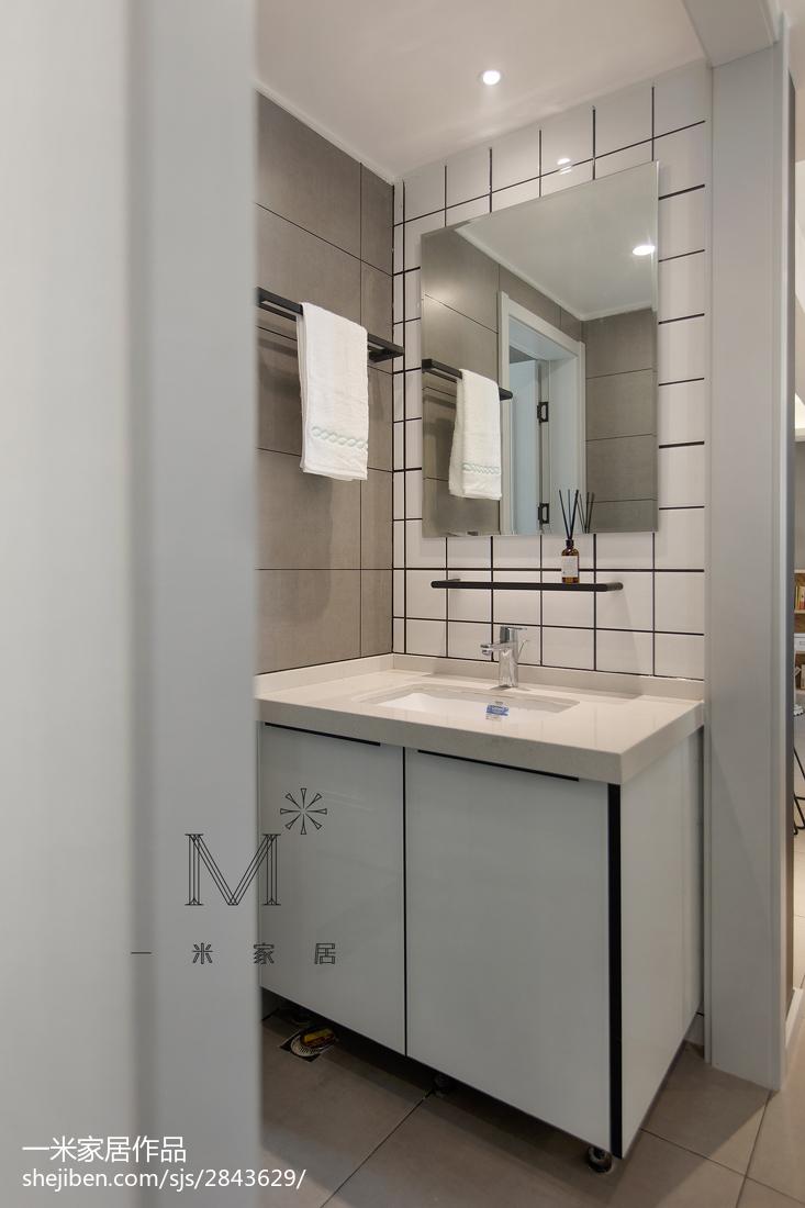 精美面积105平北欧三居卫生间实景图片欣赏