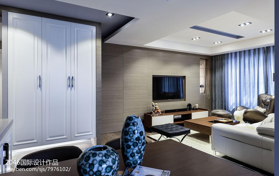 精美97平米三居客厅简约装修实景图