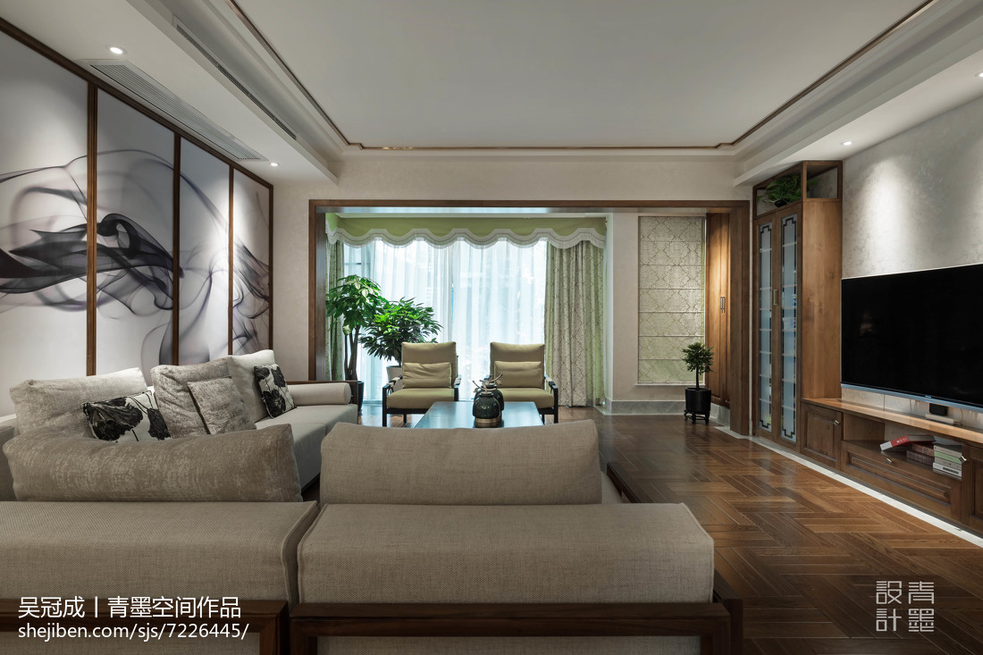 精致50平中式復式客廳裝潢圖