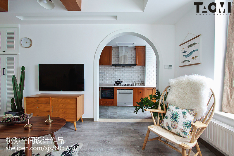 面积70平北欧二居客厅装修实景图片大全