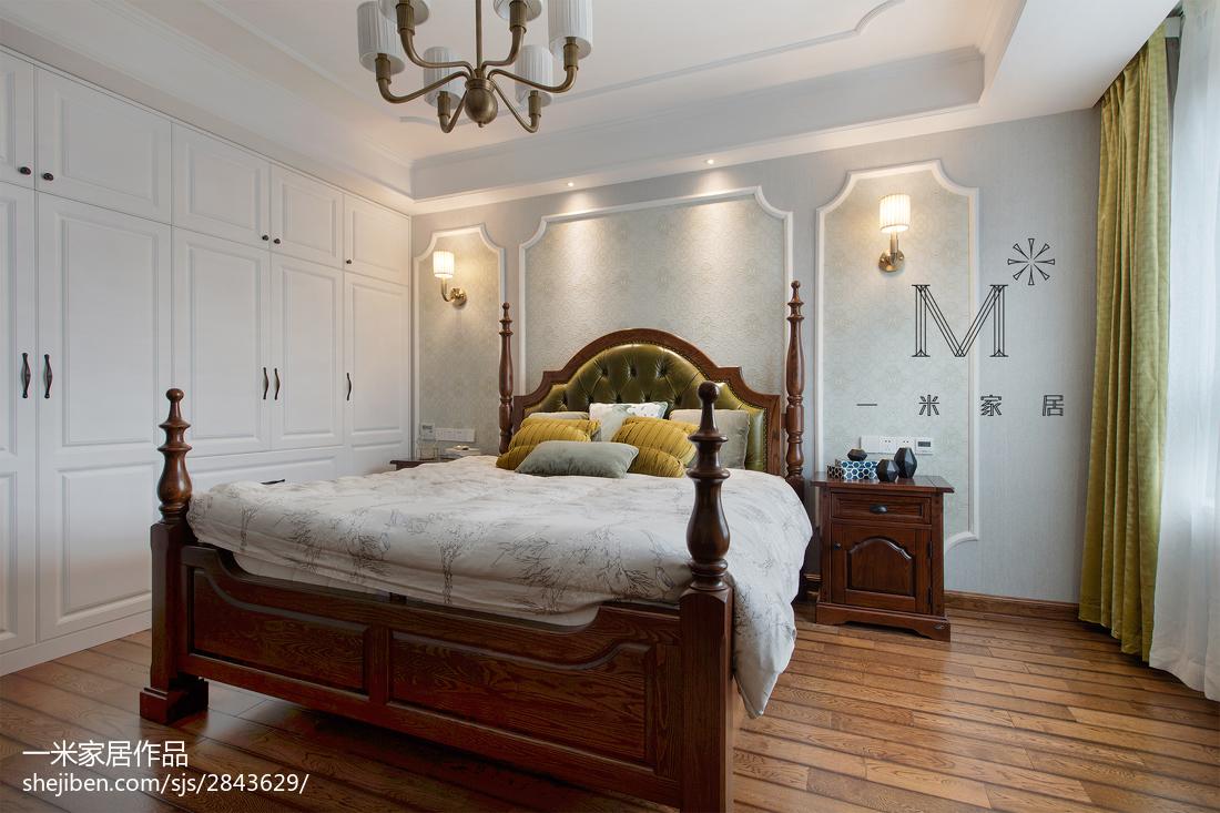2018精选大小90平美式三居卧室效果图片大全