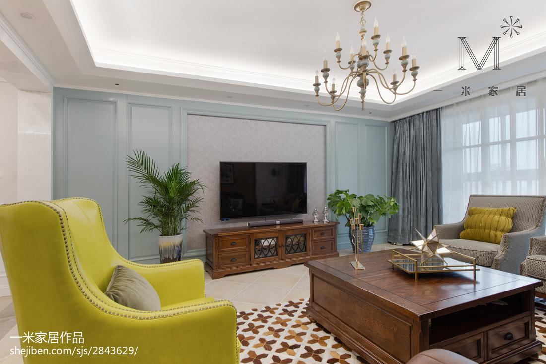 热门107平米三居客厅美式实景图片大全
