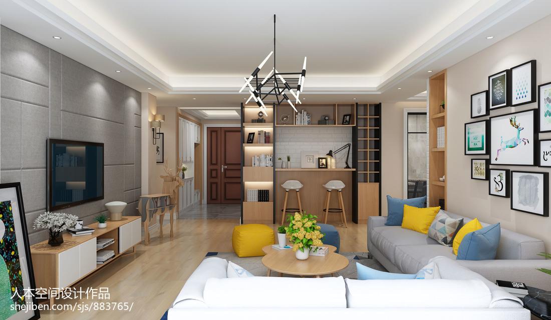 2018面积104平北欧三居客厅装修效果图片