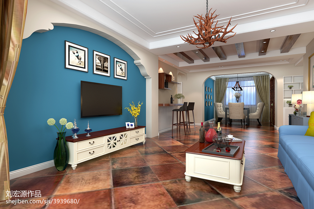 2018最新面积109平美式三居客厅装修实景图片欣赏
