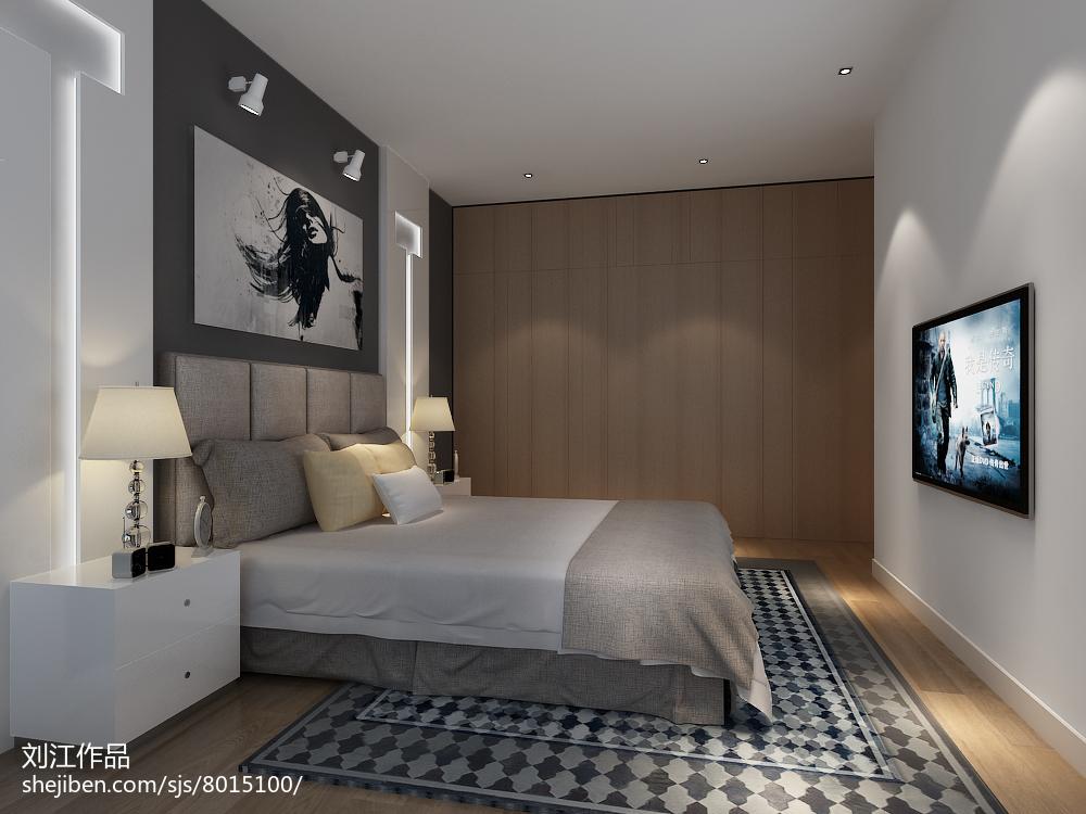 白中带有淡淡的粉简约风格装修卧室图片
