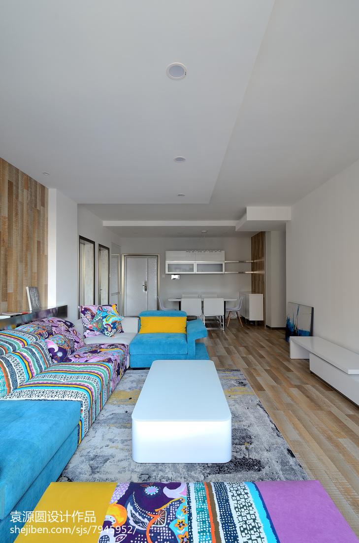 2018面积105平北欧三居客厅装修实景图