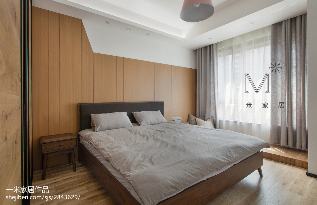 面积98平现代三居卧室装修欣赏图