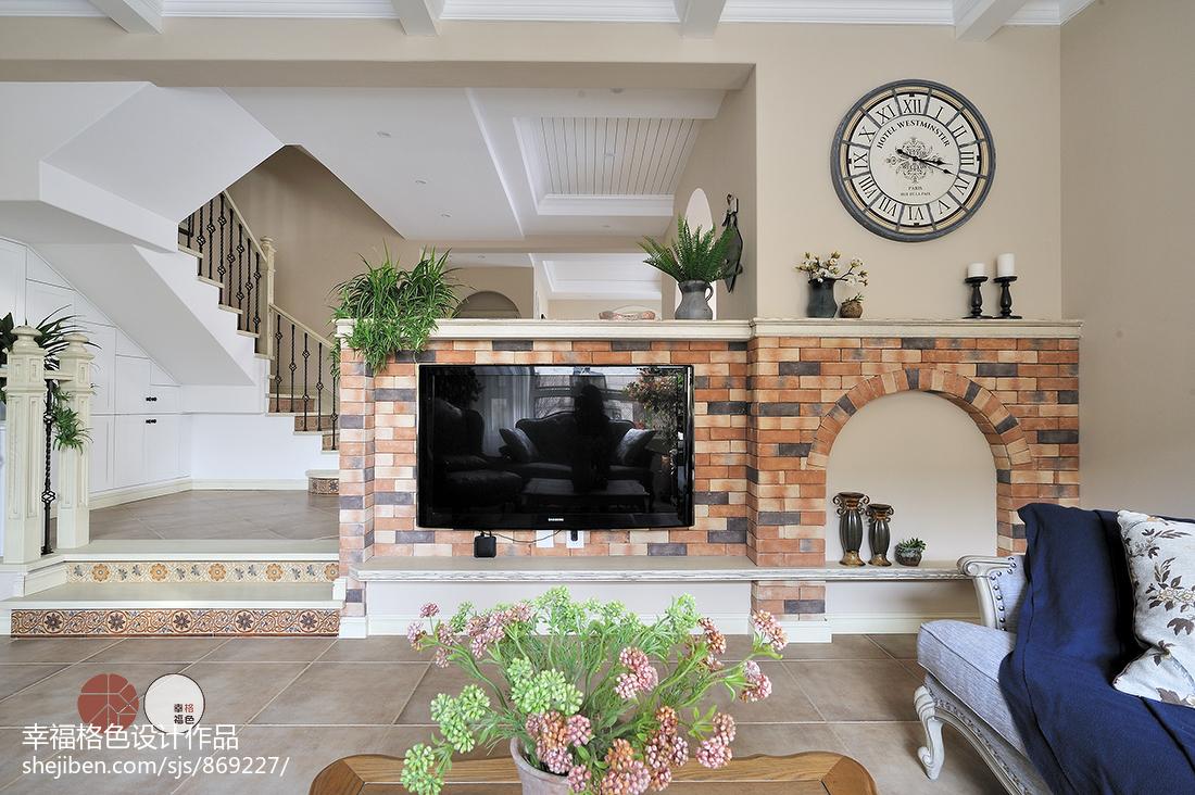 温馨240平地中海复式客厅设计效果图