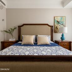 2018面积92平美式三居卧室装修效果图片大全
