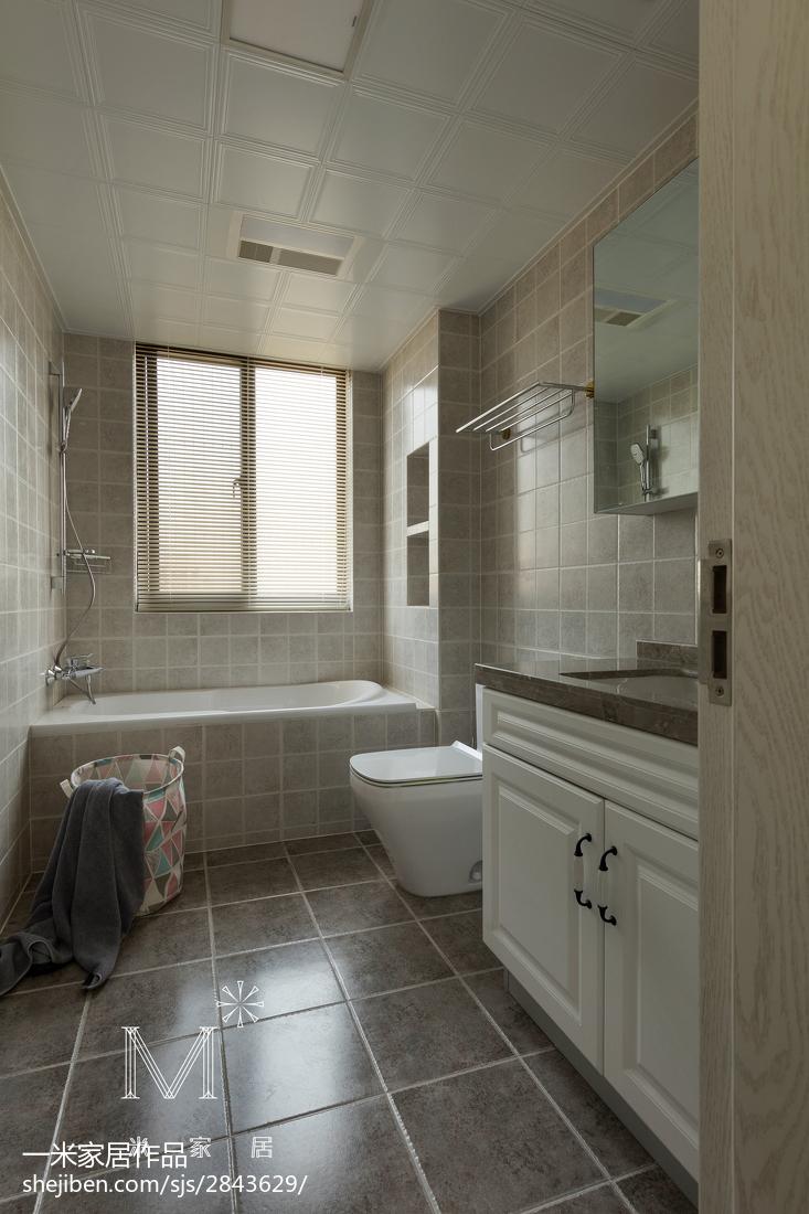 精美面积95平美式三居卫生间欣赏图片