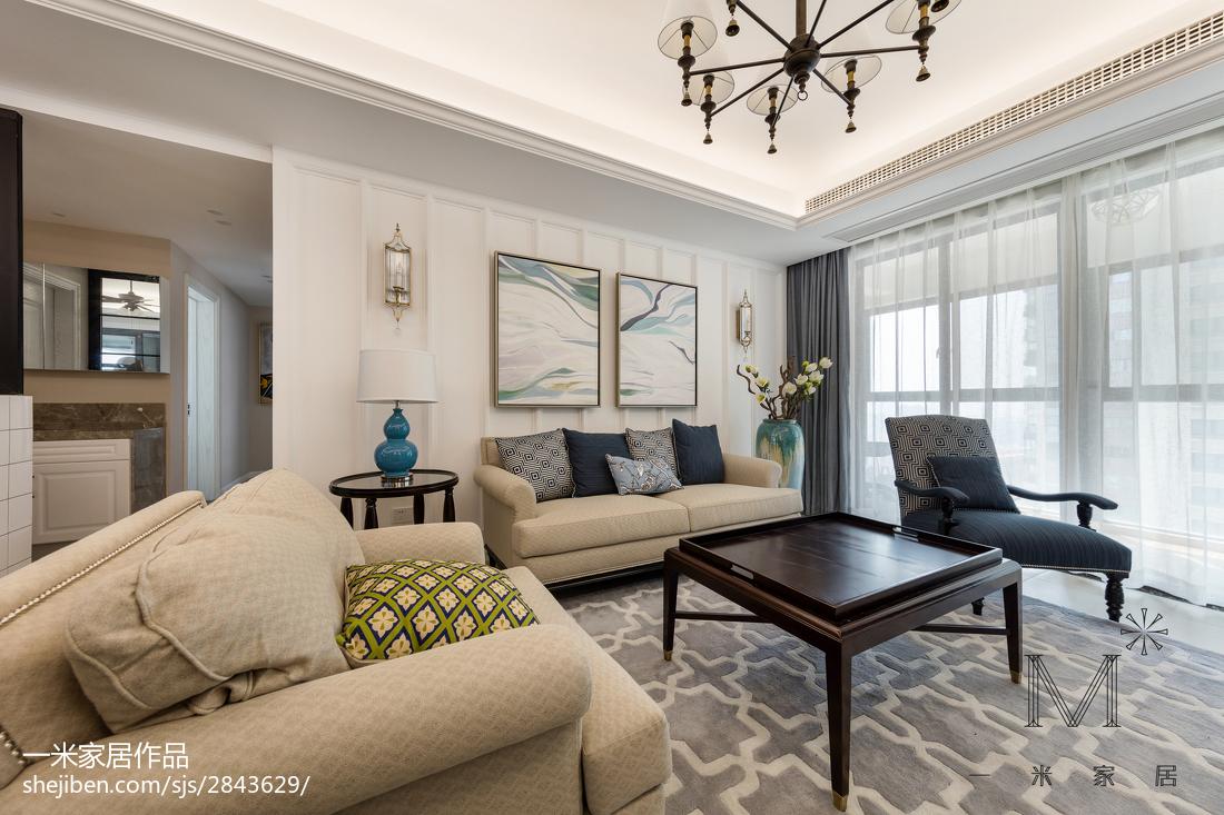2018精选大小94平美式三居客厅欣赏图