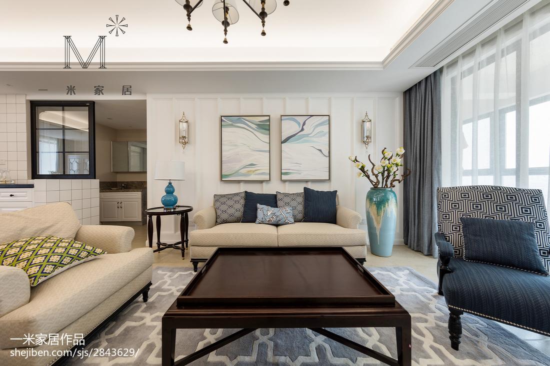 精选面积104平美式三居客厅装饰图片欣赏