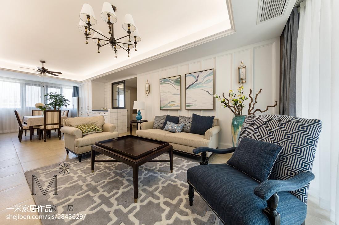 精选面积94平美式三居客厅装修效果图片欣赏