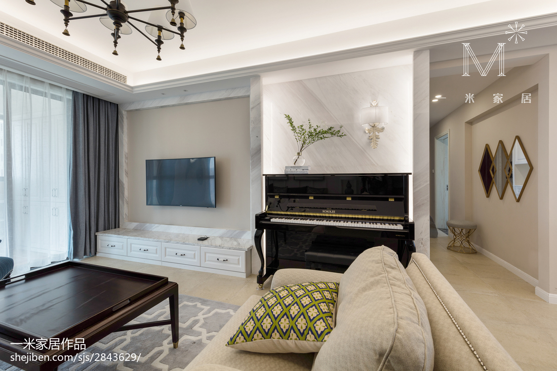 热门91平方三居客厅美式装修实景图片大全