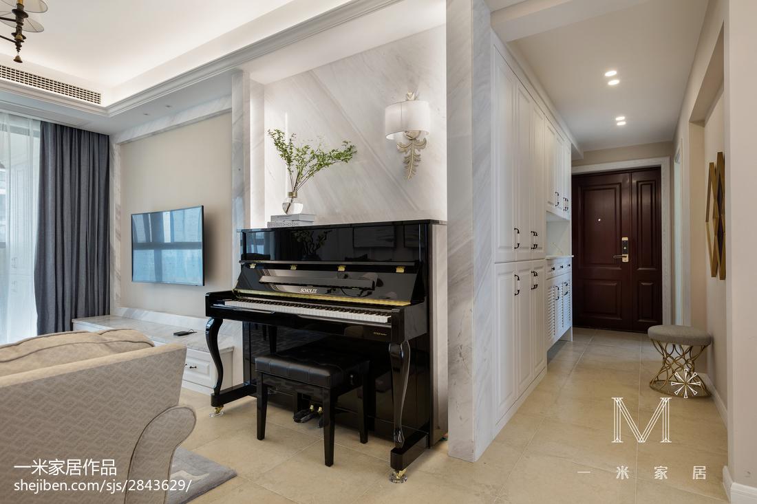 2018精选大小92平美式三居客厅装修效果图片