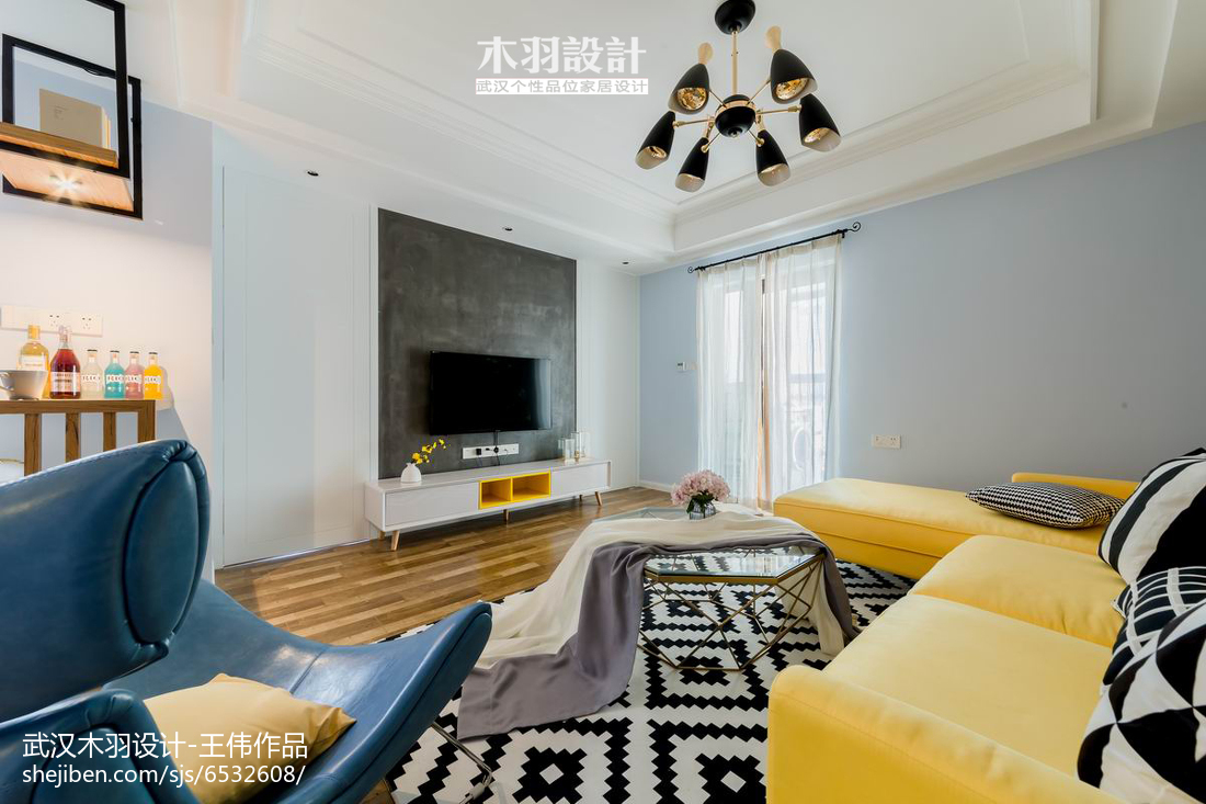 纯色混搭背景墙设计图