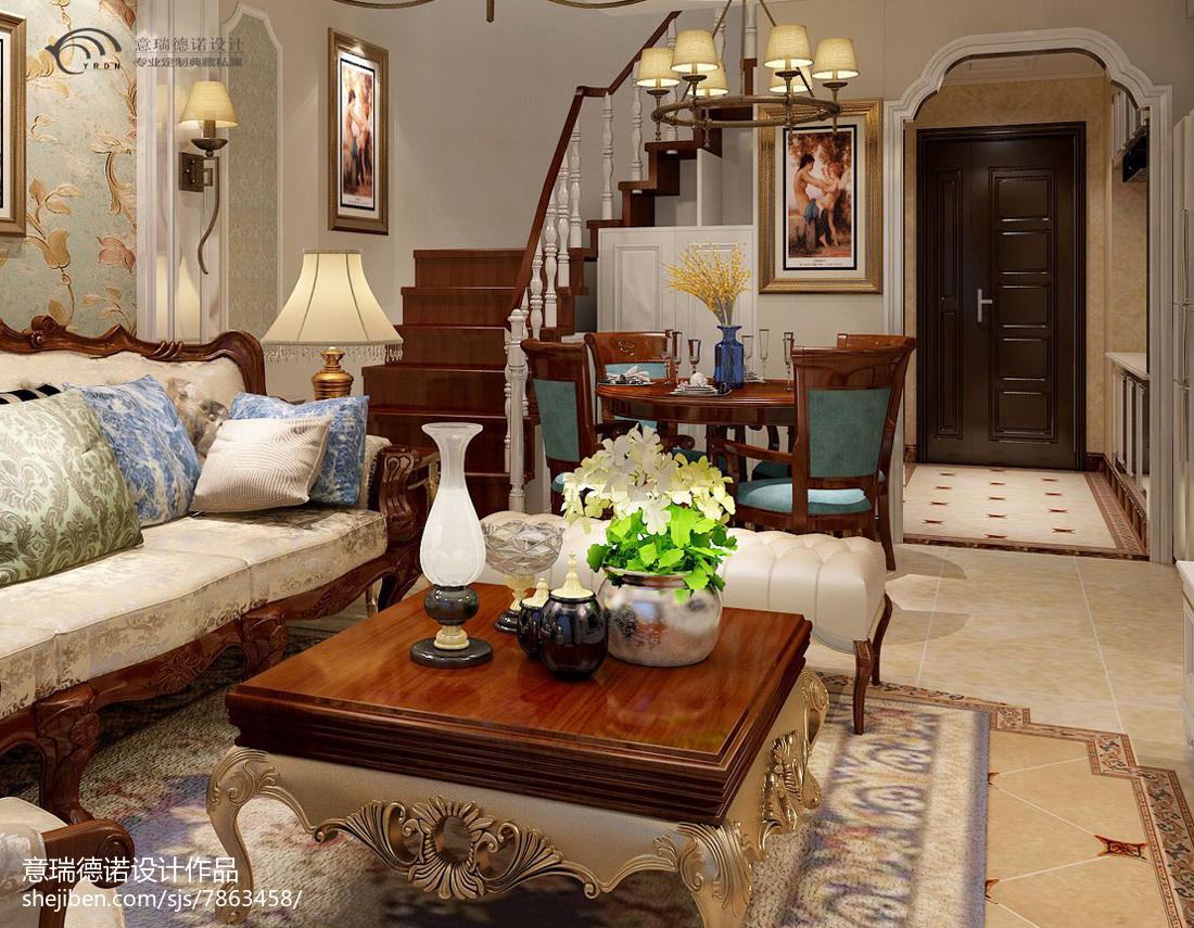 精选82平米美式小户型客厅装修实景图