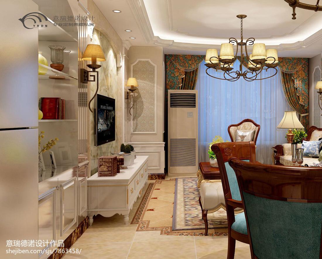 2018精选面积81平小户型客厅美式装修效果图片大全