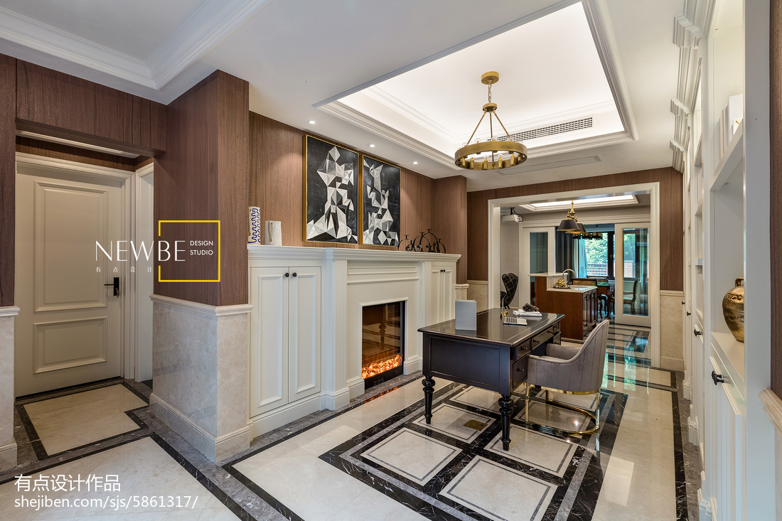 精美123平米美式别墅书房装修效果图片欣赏