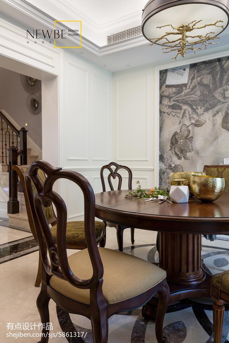 热门120平方美式别墅餐厅装修设计效果图片欣赏